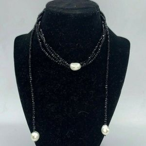 Vintage Bundle Necklace and Ring Black White